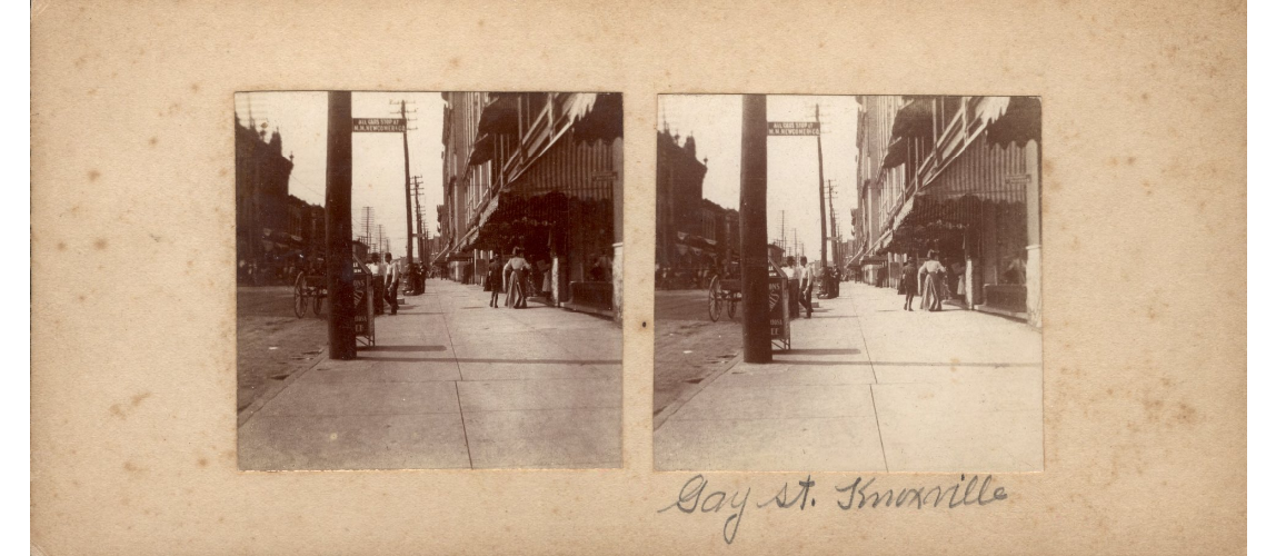 Stereoview of Gay Street from Images of East Tennessee collection