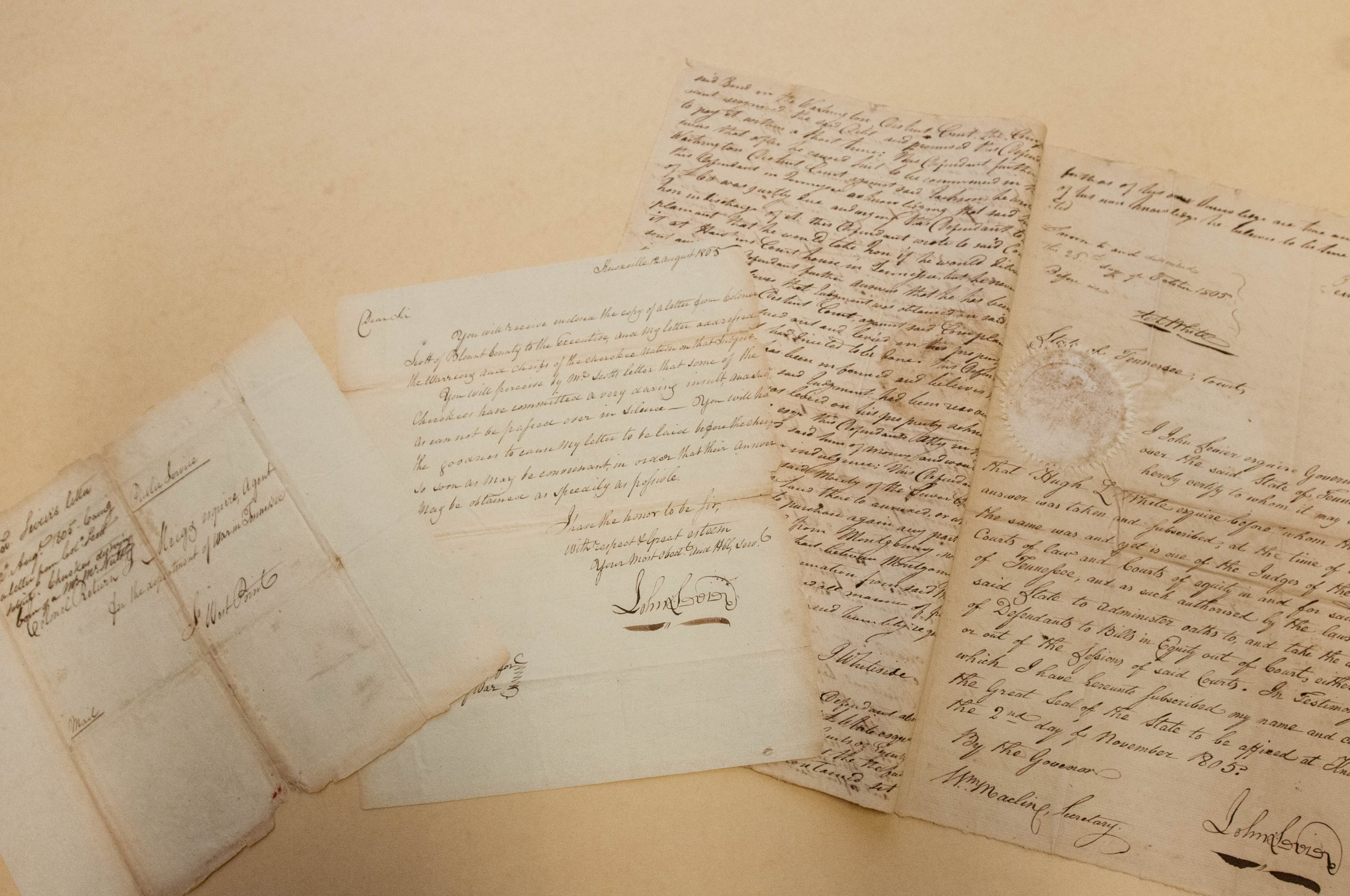 Letter from Governor John Sevier to Colonel Return Jonathan Meigs