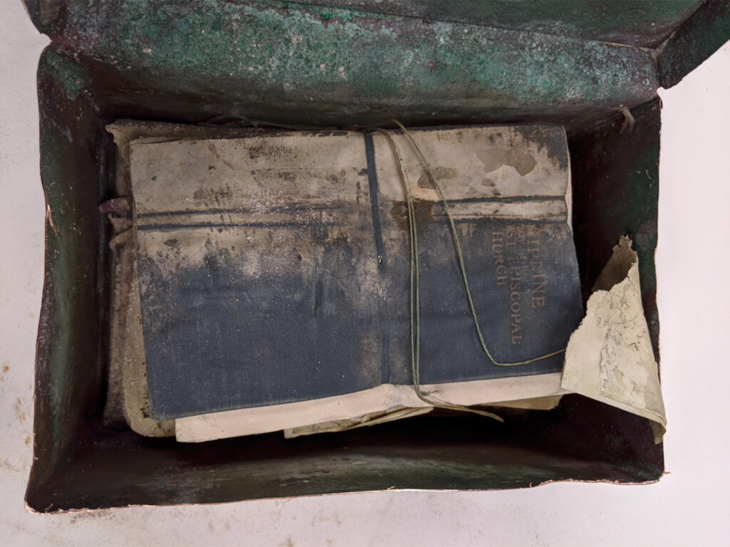 """Box Contents: Bound book which reads """"____cipline of the __1st episcopal church"""""""